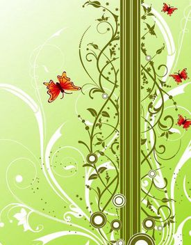 Fresh Background with Floral and Butterflies - vector gratuit #167491