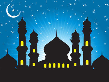Mosque Background with Starry Blue Sky - vector gratuit #167811