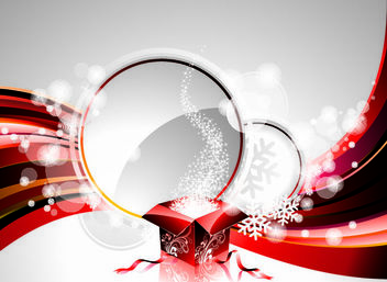 Abstract Shiny Xmas Card with Gift Box - Free vector #167871