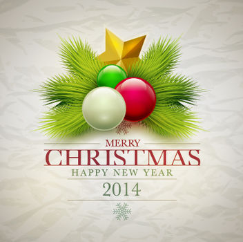 New Year and Christmas Greeting Card - vector gratuit #167881