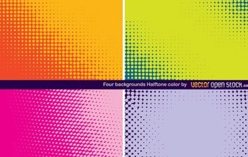 Four Backgrounds Halftone Color - vector gratuit #168461