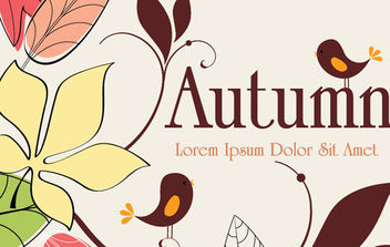 Autumn Background With Birds - vector gratuit #168671