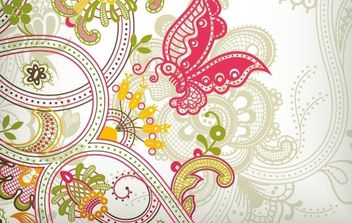 Vintage Flower Pattern Background Vector Art - vector #169071 gratis
