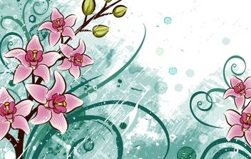 lily flowers with grunge floral background - vector gratuit #169131