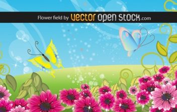Flower field - vector gratuit #169431