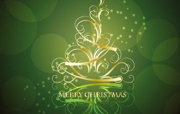 Golden Swirling Christmas Tree with Blackish Green Background - vector gratuit #169491