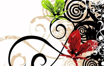 Grungy background with flowers - vector gratuit(e) #169581