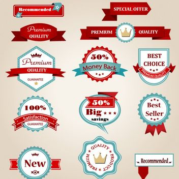 Beautiful Vintage Label & Badge Set - vector #170261 gratis