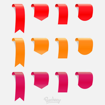 Curvy Hanging Ribbon & Labels - vector #170351 gratis
