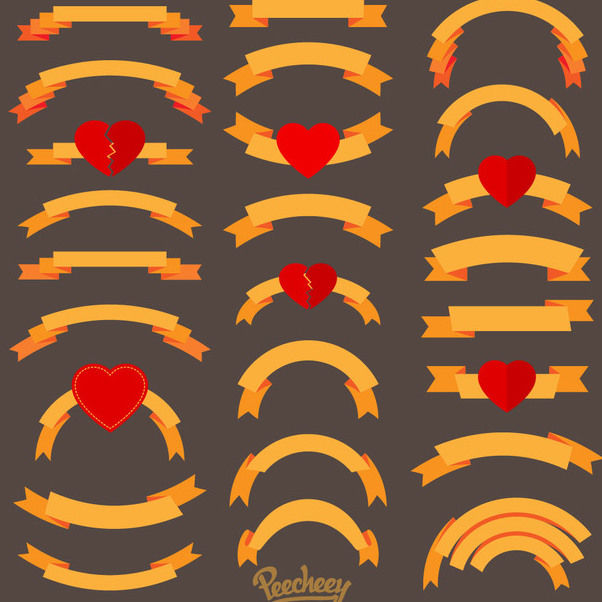 Vintage Gold Ribbons Hearts Pack - Free vector #170361