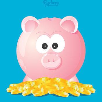 Funky Piggy Bank Gold Coins - Free vector #170371