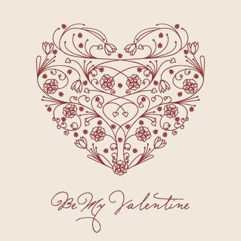 Heart Shaped Hand Drawn Floral - vector gratuit #170401