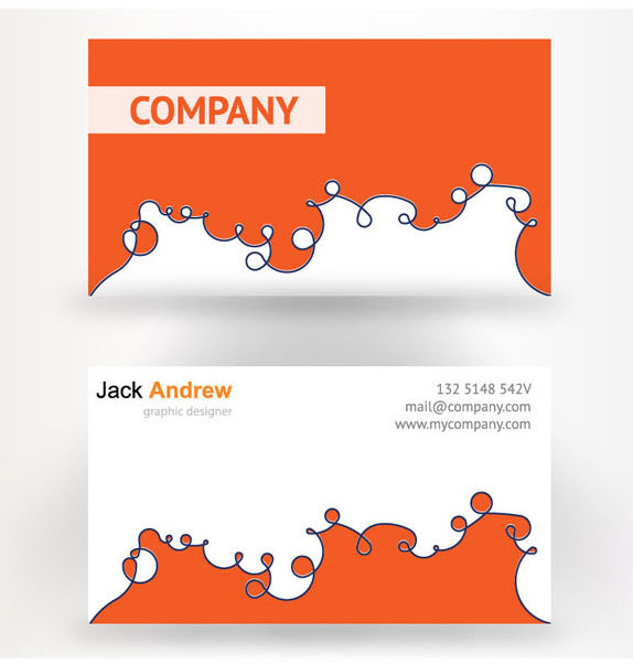 Abstract Orange White Business Card - Kostenloses vector #170471