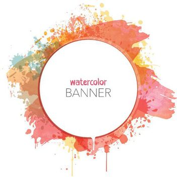 Watercolor Splashed Circular Banner - Free vector #170521