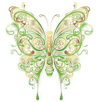 Ornate Shaped Decorative Butterfly - Free vector #170561