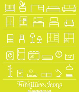 Flat Line Art Furniture Icons - Free vector #170581