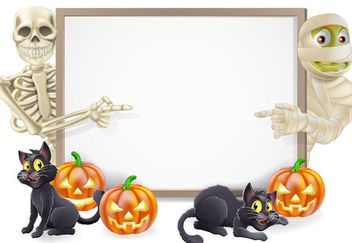 Funky Halloween Poster with Skeleton, Mummy & Cats - vector gratuit #170741