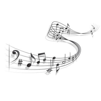 Waving 3D Musical Note - Free vector #170771