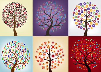 Tree Pack with Beautiful Abstract Decoration - vector gratuit #170831