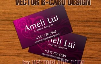 Pink Business Card with Swirls - vector #170941 gratis