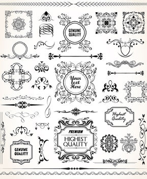 Calligraphic ornamental set - Free vector #171411