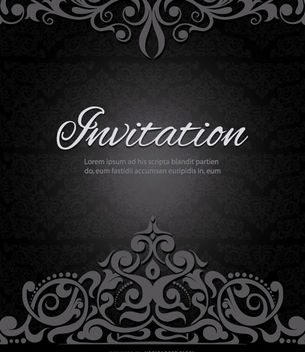 Swirls crown black invitation - Free vector #171461