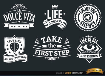 6 Inspirational vintage badges - vector gratuit #171511