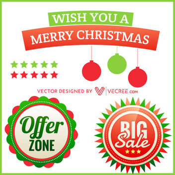 Xmas Promotional Element Pack - Free vector #171531