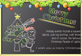Line Art Chalkboard Cartoon Christmas Card - Free vector #171551