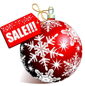 Christmas Sale Tag with Red Bauble - Free vector #171561