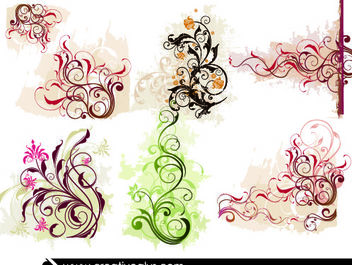 Swirling Curvy Edge Floral Ornaments - Free vector #171741