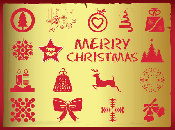 Silhouette Vintage Christmas Symbol Pack - Free vector #171821