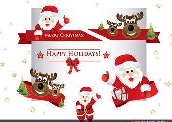 Christmas Santa ribbons, headers and ornaments - Free vector #171851