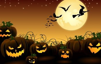 Halloween Art with Planted Evil Pumpkins - Free vector #171941