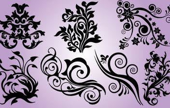 Floral Design Element Pack - Kostenloses vector #171981