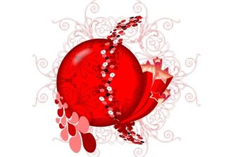 Red Floral Design Vector - бесплатный vector #172111