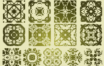 13 Antique Floristic Vector Patterns - Kostenloses vector #172321