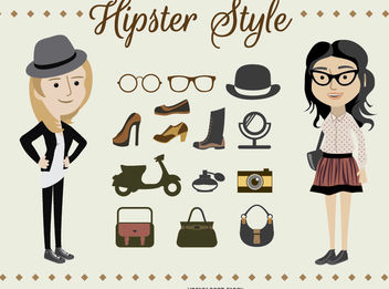 Hipster Girl Characters - vector #172871 gratis