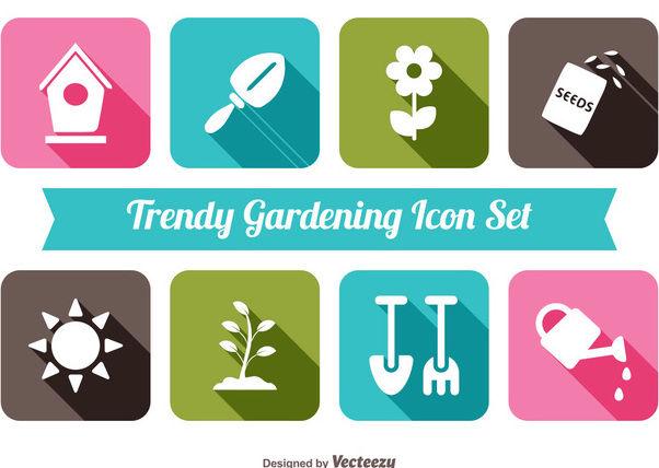 Flat Gardening Icon Set - Free vector #172901