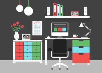 Flat Modern Interior Home Office - Kostenloses vector #172931