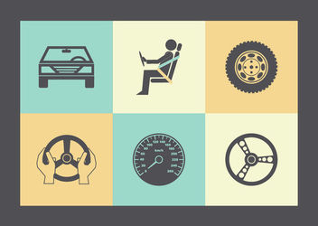 Flat Car & Parts Icon Pack - Free vector #172971