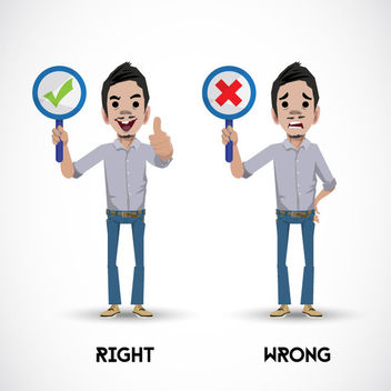Character Showing Right Wrong Signs - vector gratuit #173021