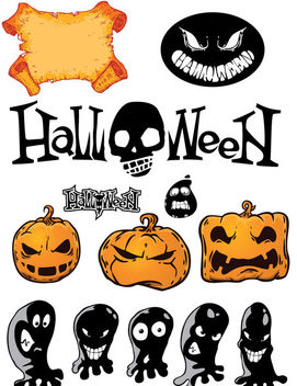 Funky Halloween Stuff Pack with Typography - Free vector #173071