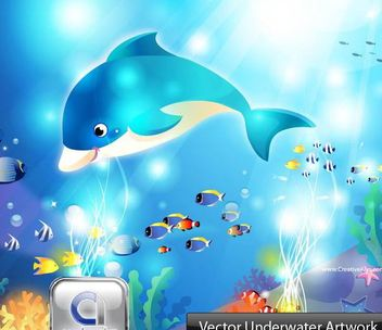 Comic Style Aquatic Underwater Scene - vector #173141 gratis