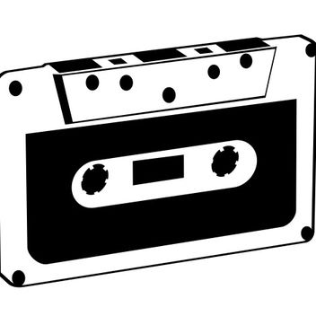 Vintage Black & White Tape Cassette - Free vector #173191
