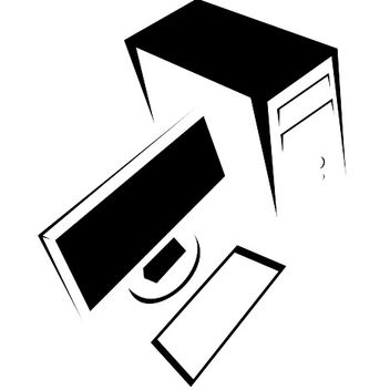 Desktop PC Black & White Cartoon - vector gratuit #173241