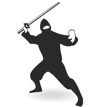Silhouette Ninja Character with Sword - Free vector #173261