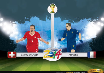 Switzerland vs. France match Brazil 2014 - Free vector #173401