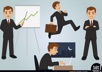 Businessman Character Set - Free vector #173471