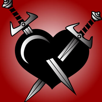 Broken Heart Stabbed with Swards - Free vector #173601